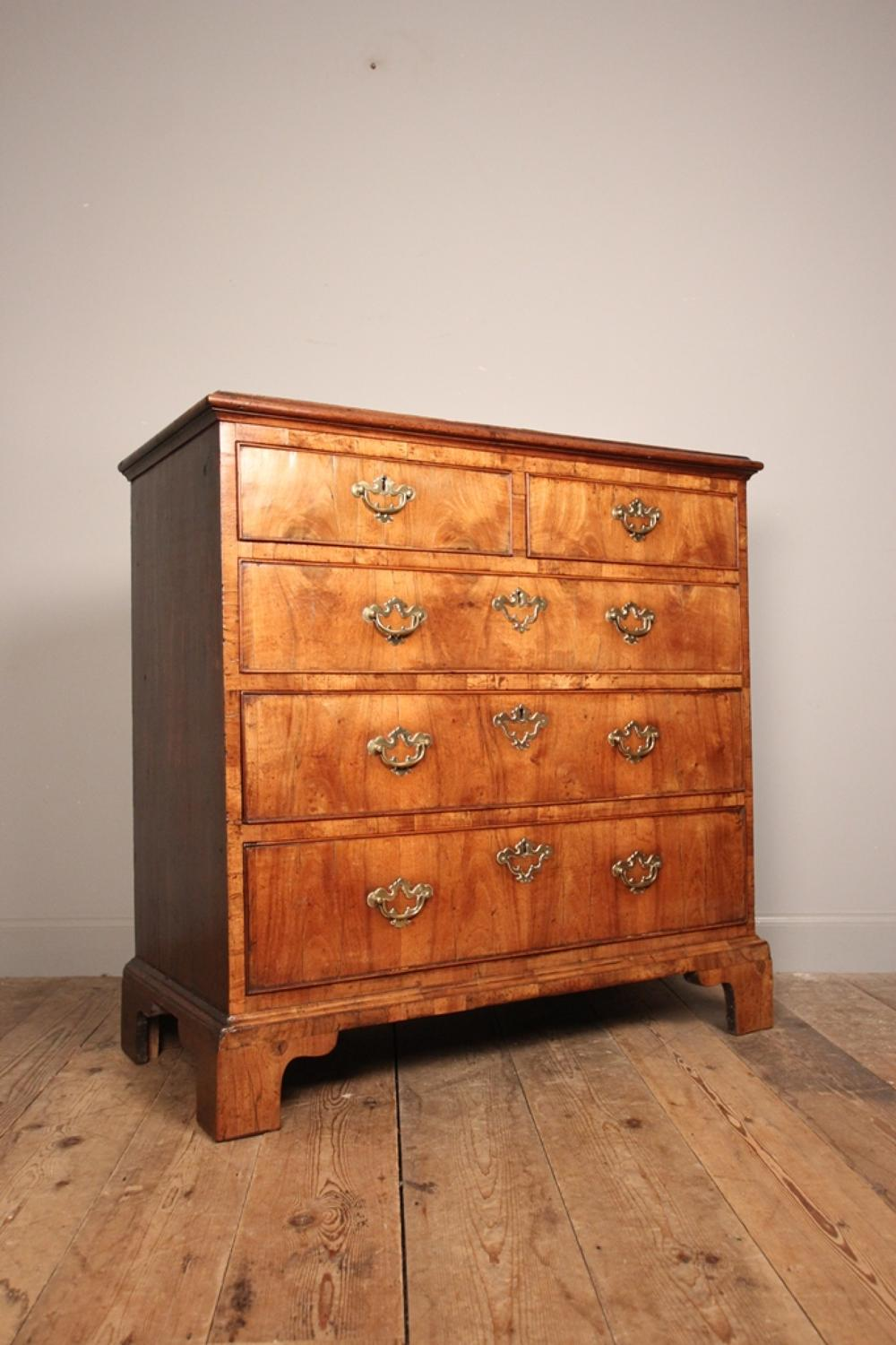 George II Figured Walnut Chest of Drawers