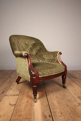 Beautiful Mahogany Upholstered Armchair