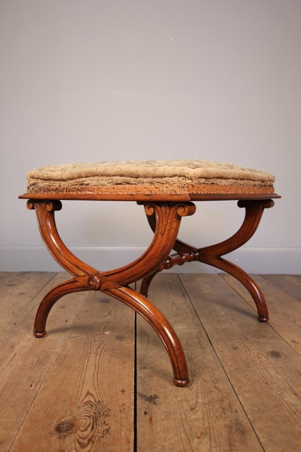 William IV Rosewood X Frame Stool