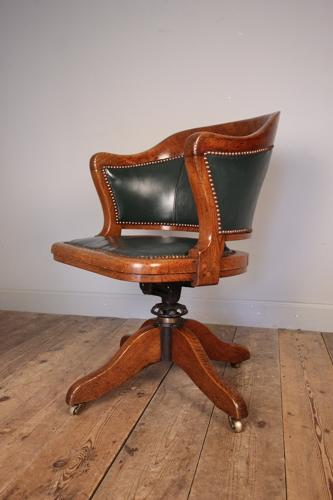 Edwardian Oak Swivel Leather Desk Office Chair