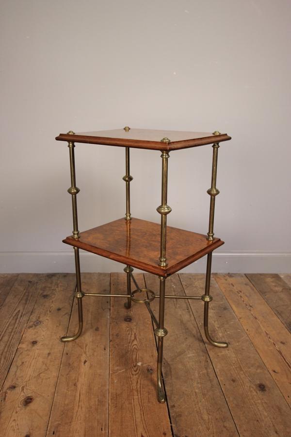 Stylish 19th Century Burr Walnut Etagere Whatnot
