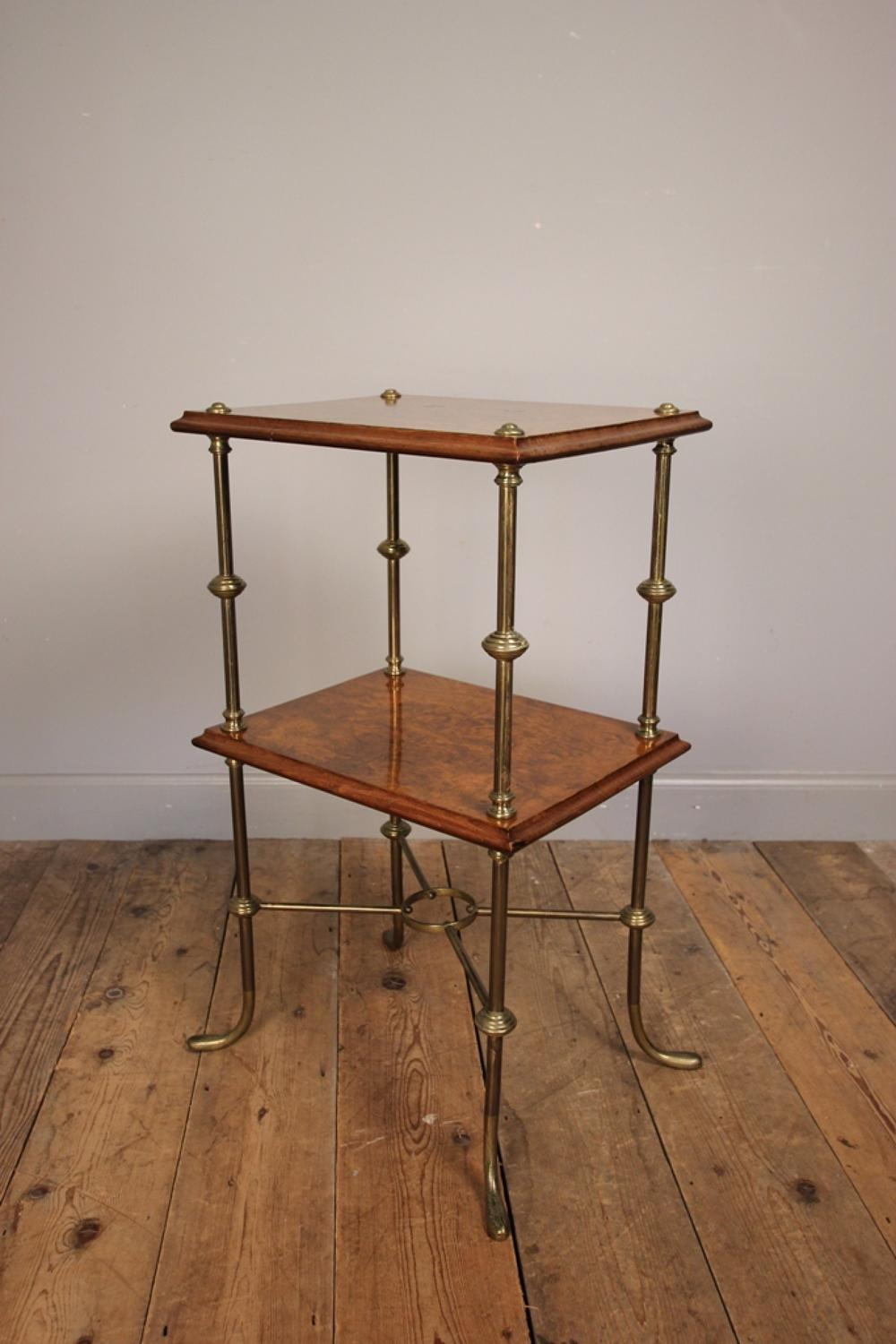 Stylish 19th Century Burr Walnut Etagere Whatnot