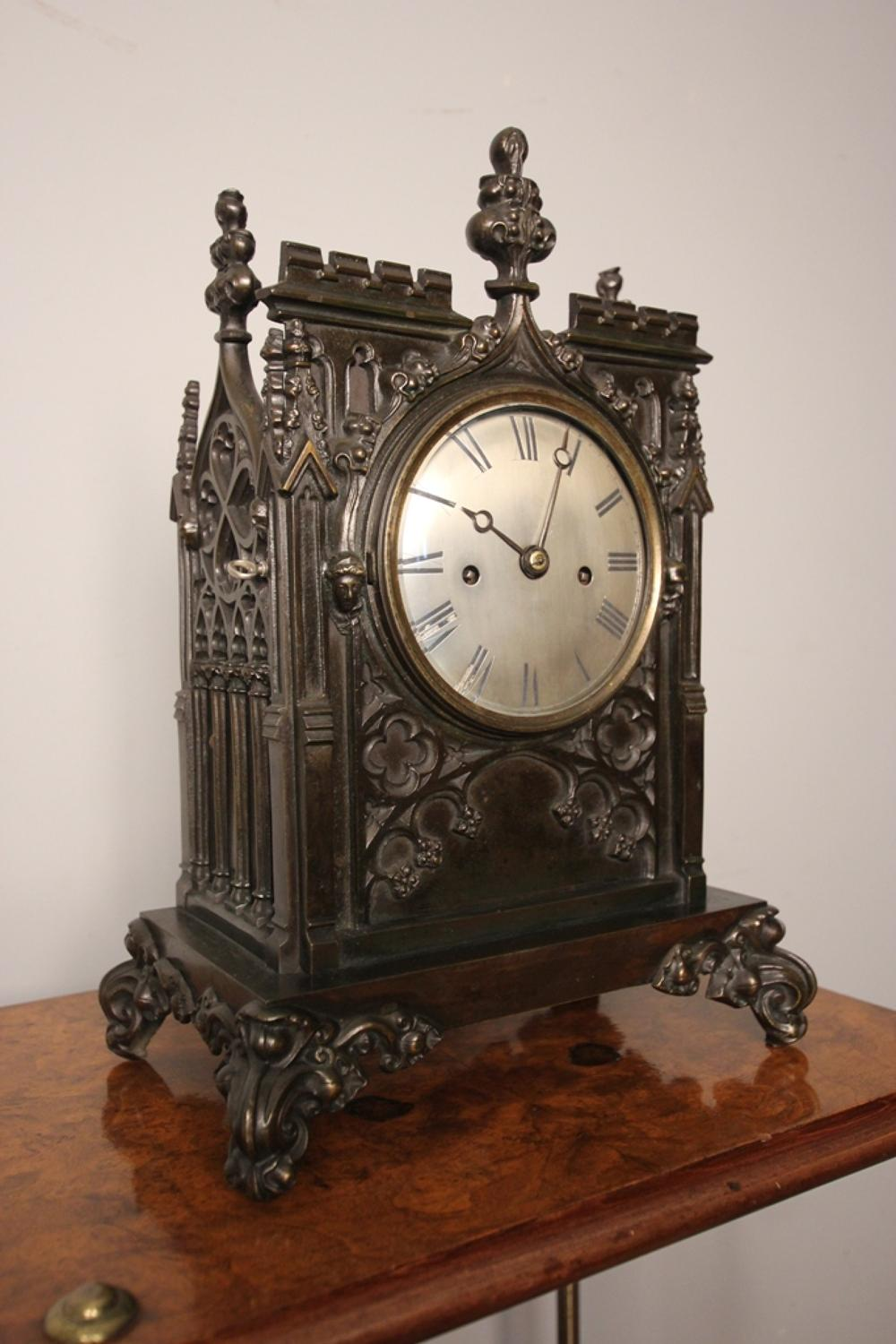 Superb 19th C Gothic Bracket Clock Double Fusee