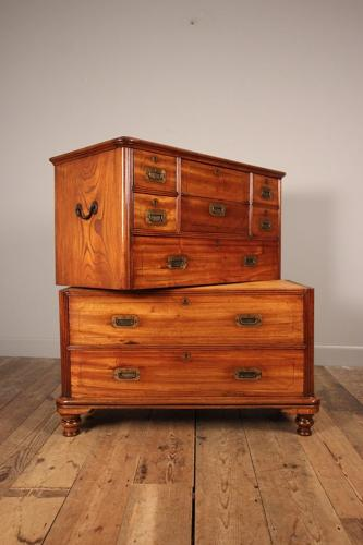 Small 19th Century Campaign Military Chest of Drawers
