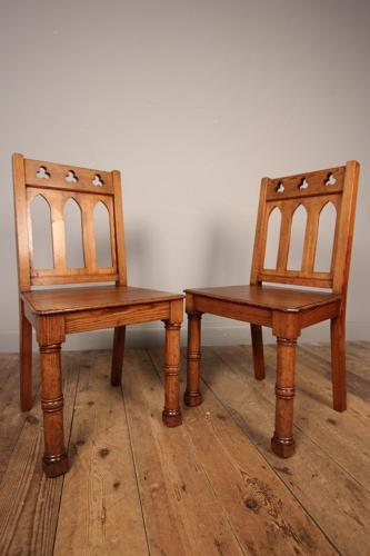 A Super Pair of Gothic Hall Chairs