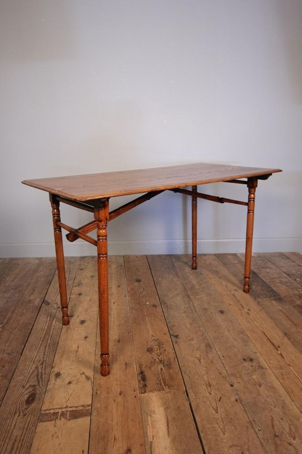 Edwardian Oak Campaign Table