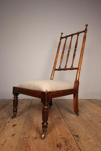 Faux Rosewood Spindle Back Bedroom Chair