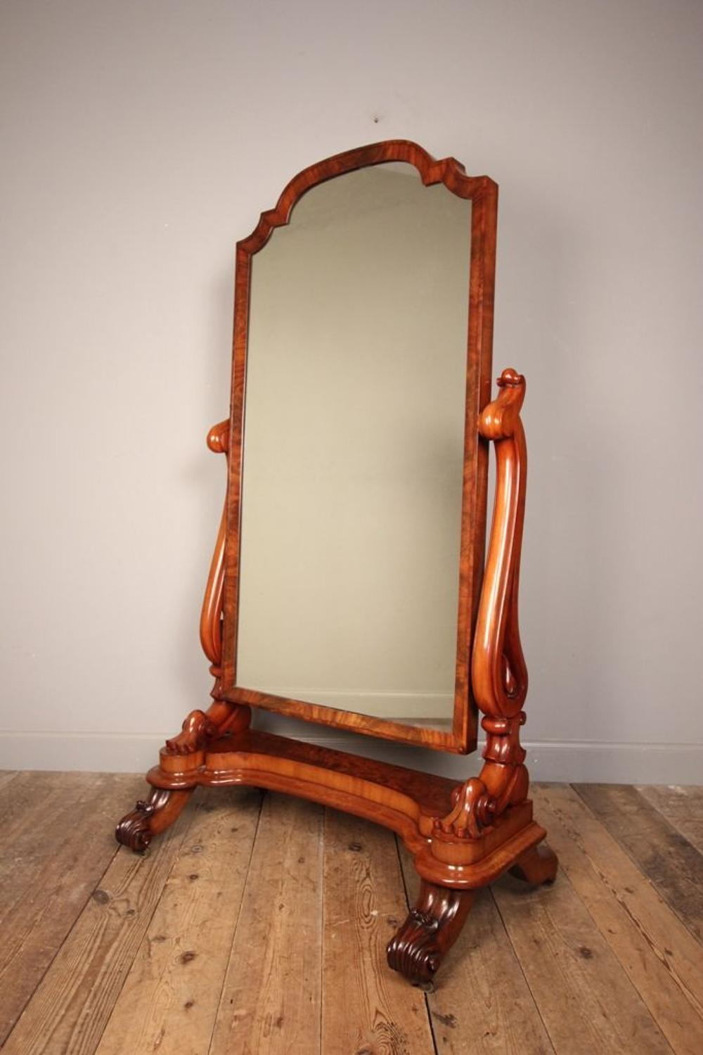 Beautiful Quality 19th C. Mahogany Cheval Mirror