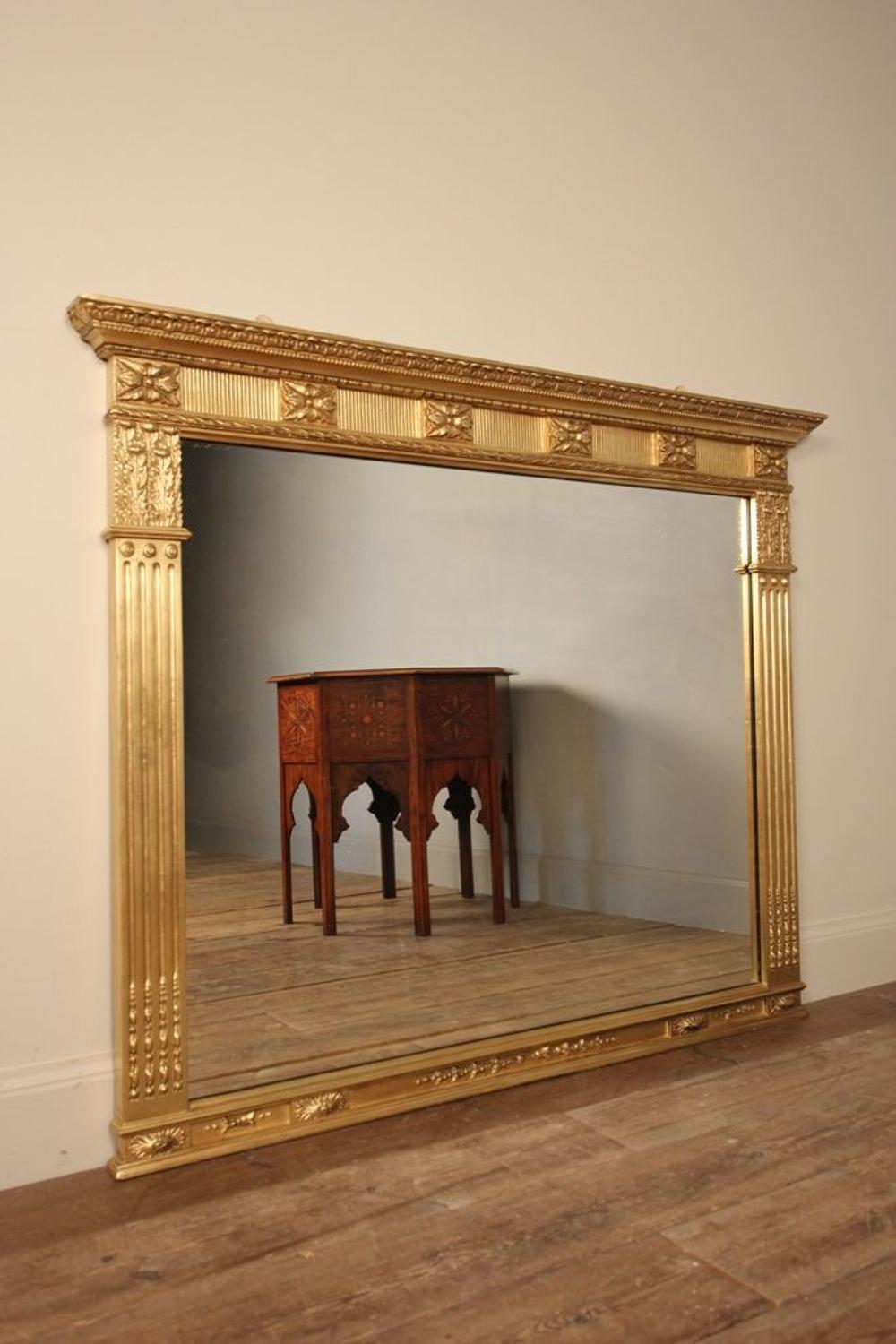 19th C Giltwood Overmantle Mirror
