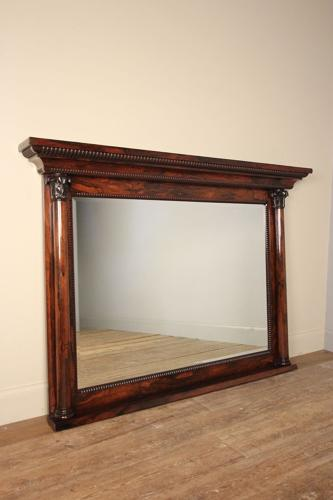 Large George IV Rosewood Overmantle Wall Mirror