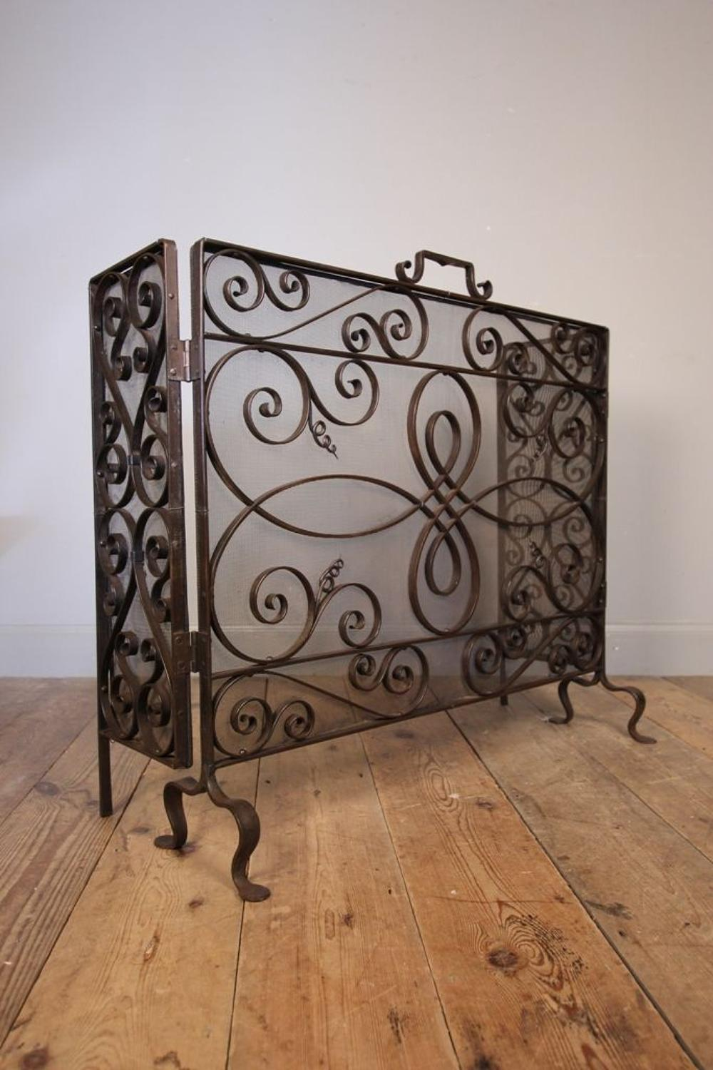Stunning Edwardian Iron Fire Guard Screen
