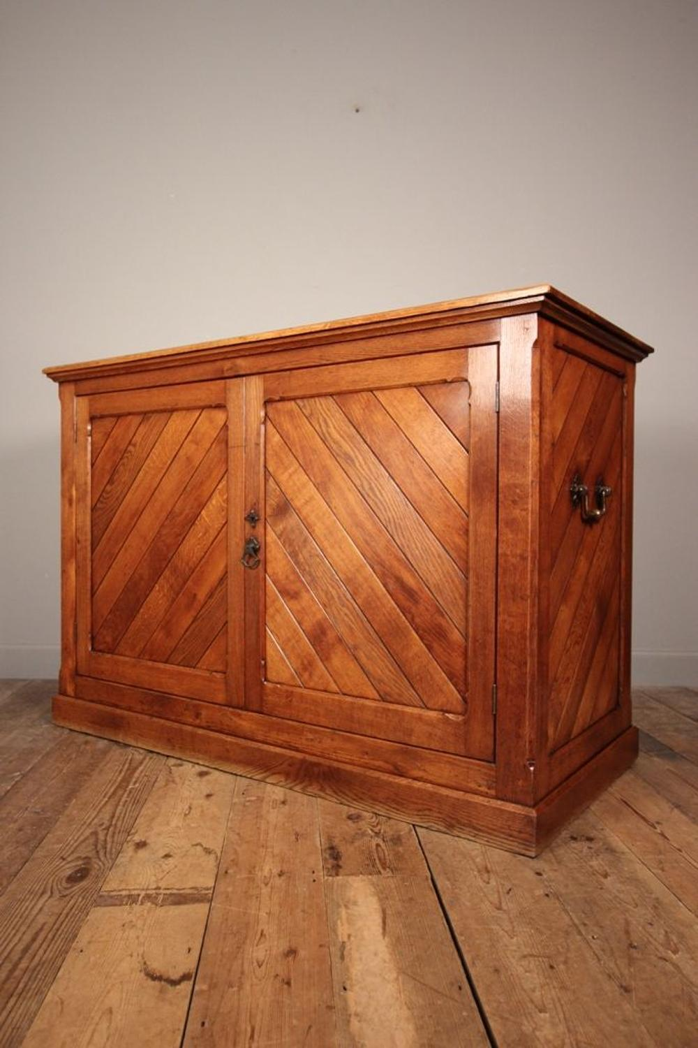Striking 19th C Gothic Oak Shop Counter Cabinet