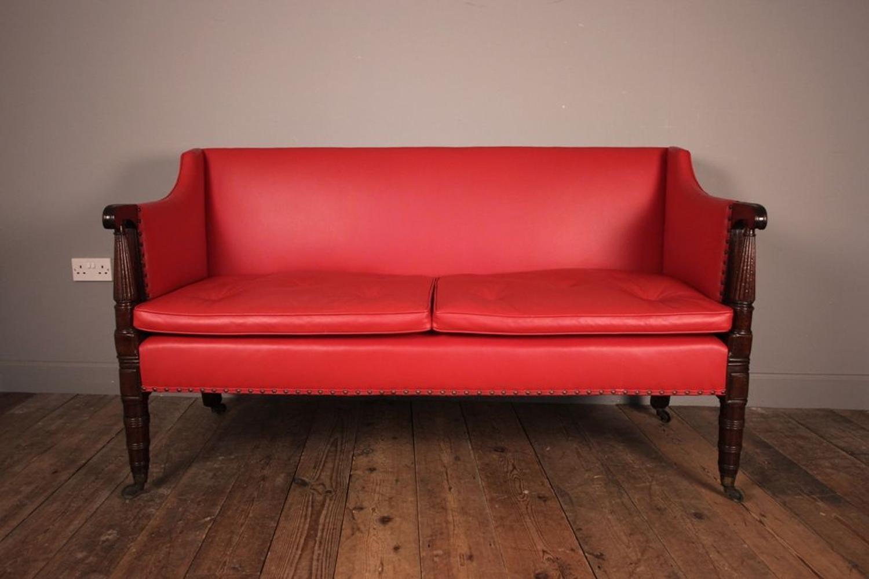 Small George IV Mahogany and Leather Sofa