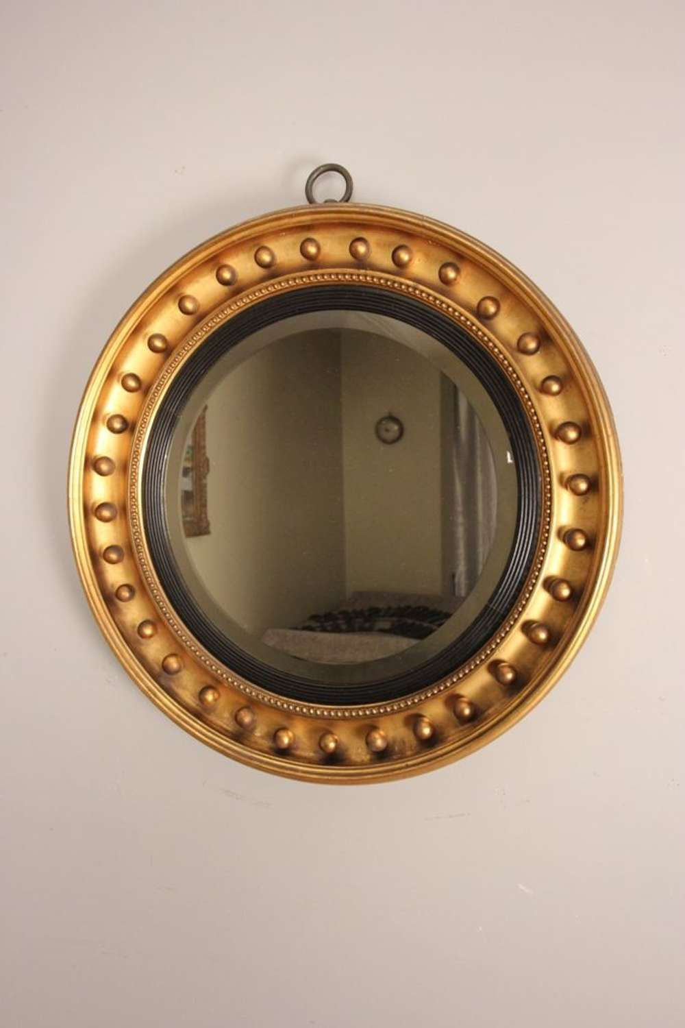 Large 19th C Giltwood Circular Mirror