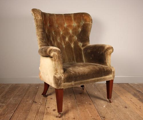 Large 19th C Barrel Back Wing Chair