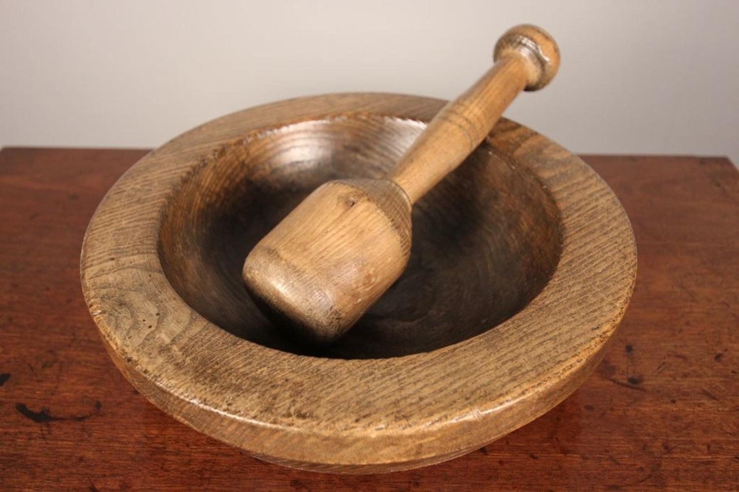 Large Treen Ash Pestle and Mortar
