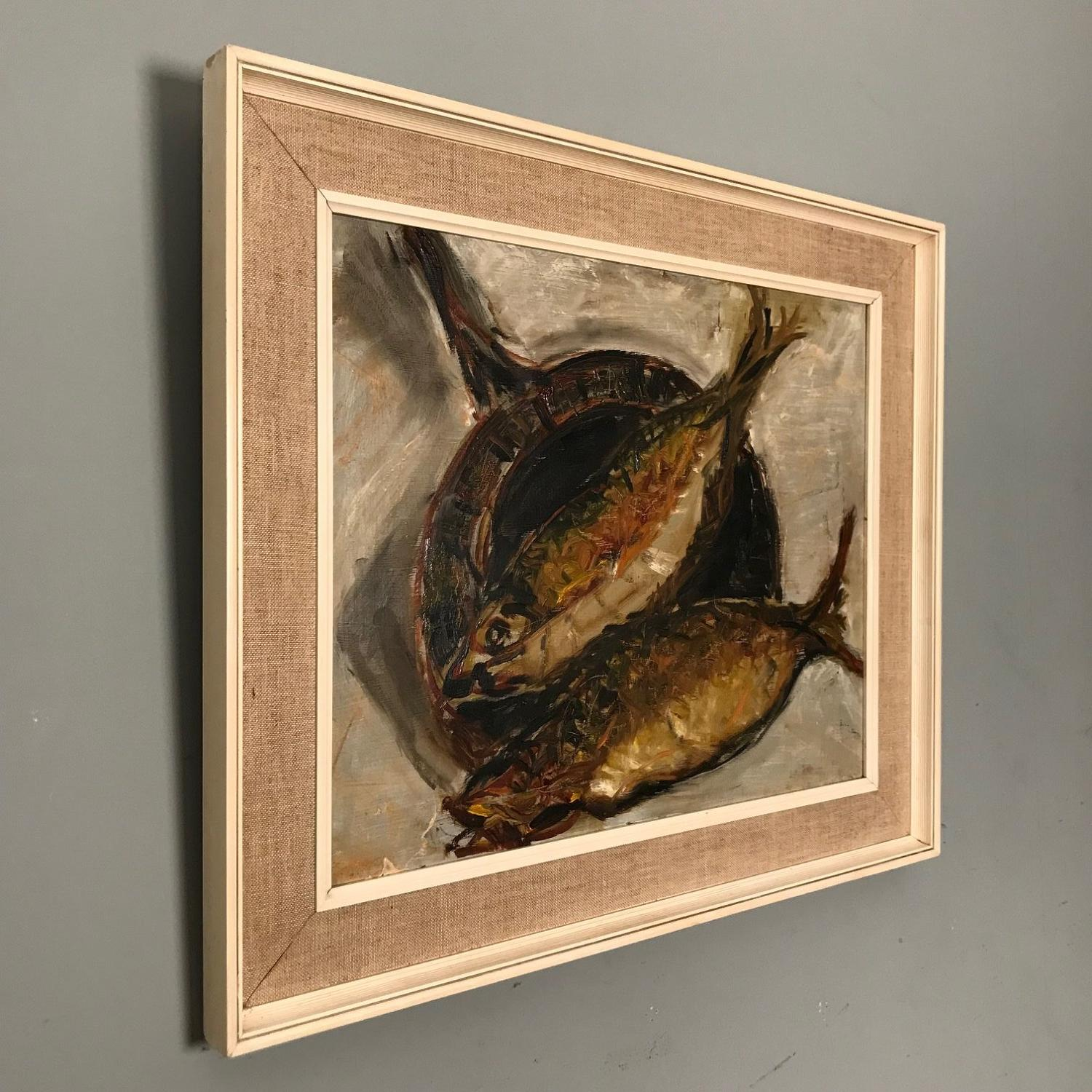 Frying Kippers - Oil on Board