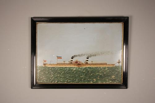 Naive Portrait of a Paddle Steamer - Oil on Tin