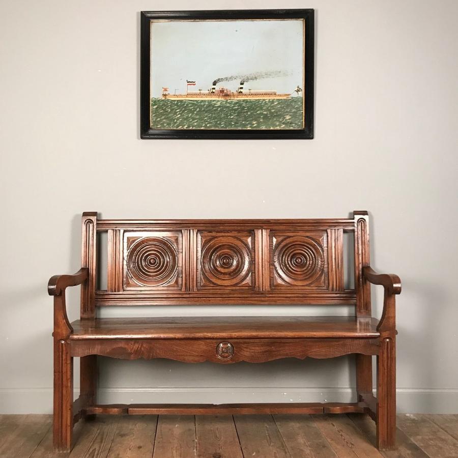 Lovely 19th Century Chestnut Bench