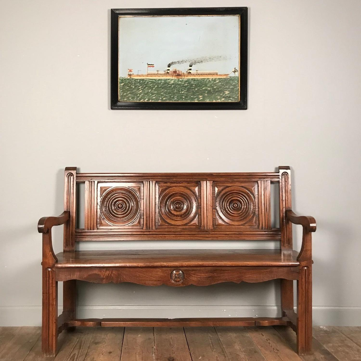 Lovely 19th Century Chestnut Bench