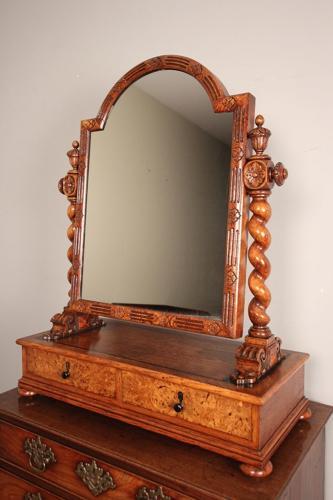 Superb Oak Gothic Table Mirror in the manner of Richard Bridgens