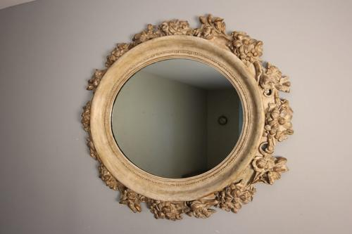 Beautiful Large Gesso and Painted Oval Mirror