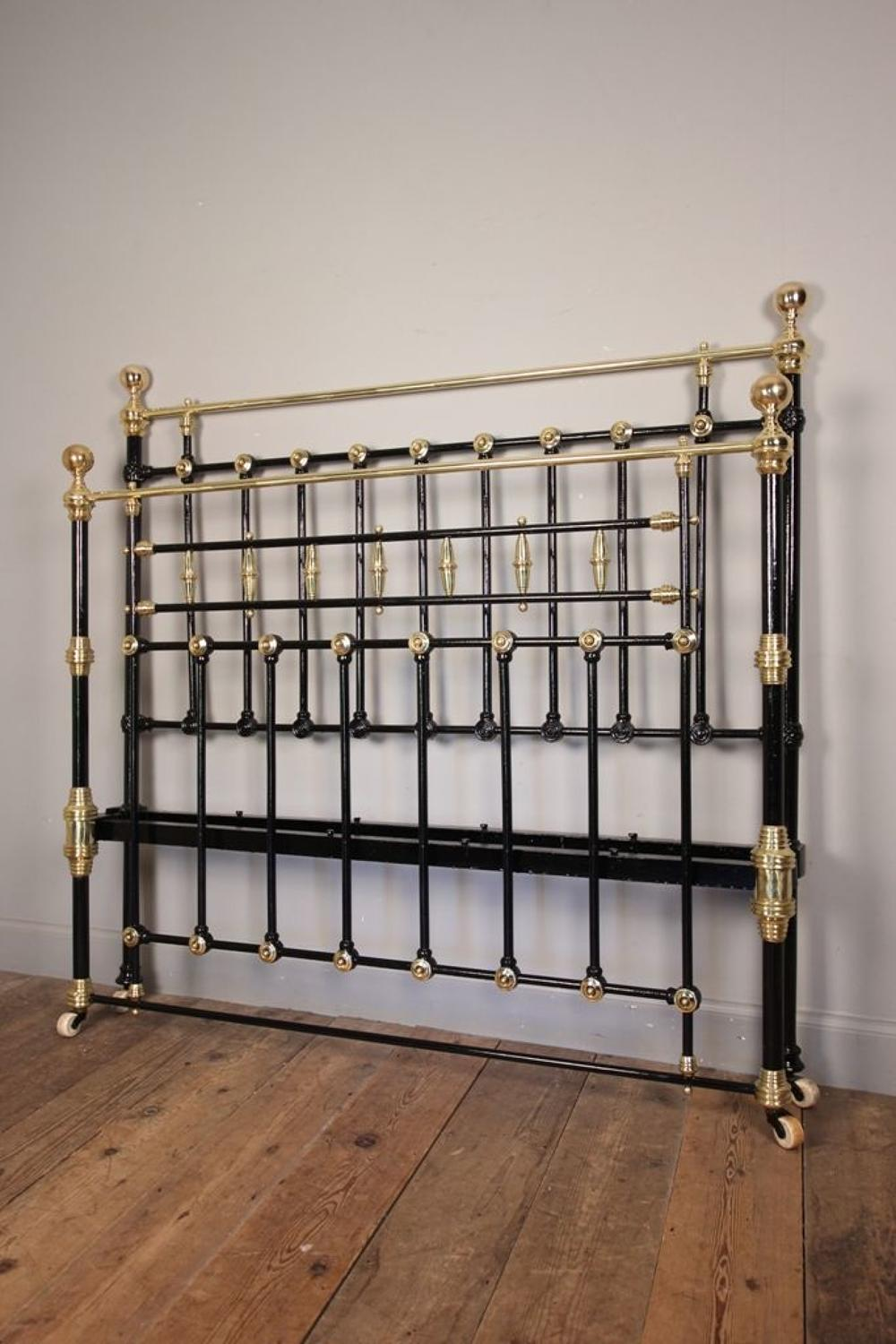 Victorian Brass & Cast Iron Double Bed 4 ft 6