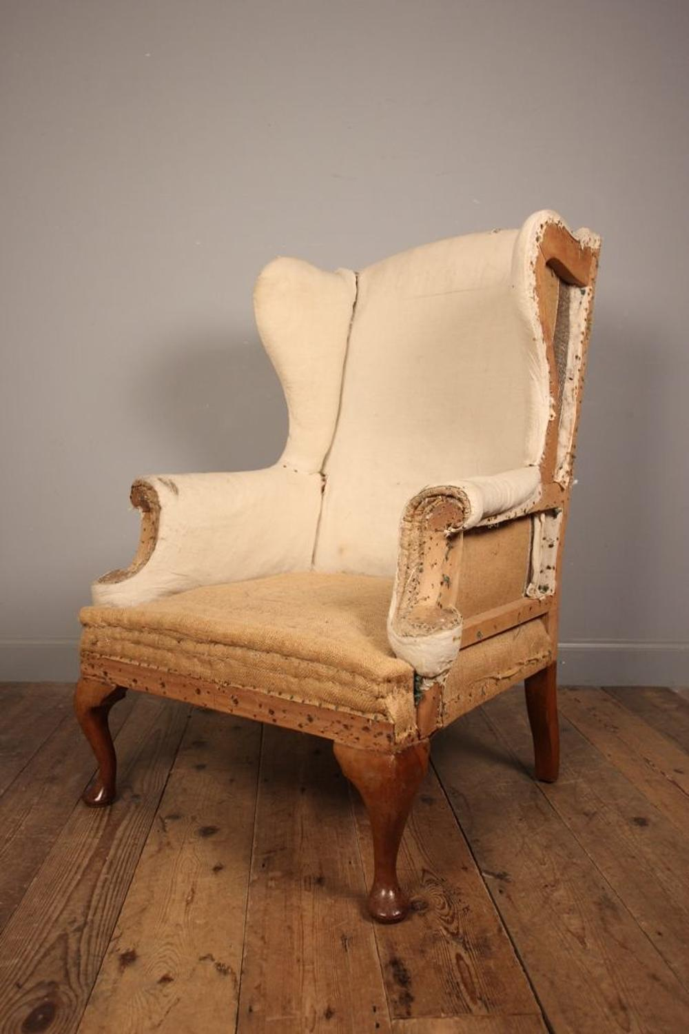 19th C Walnut Wing Chair