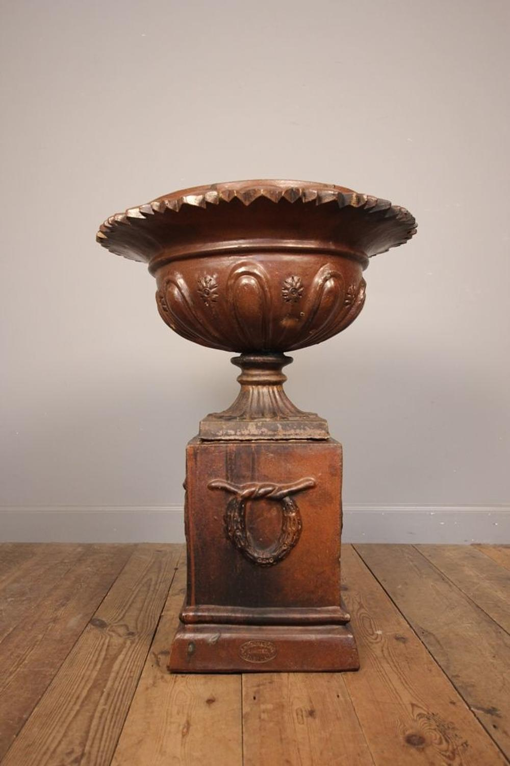 Stunning 19th C Salt Glazed Garden Urn