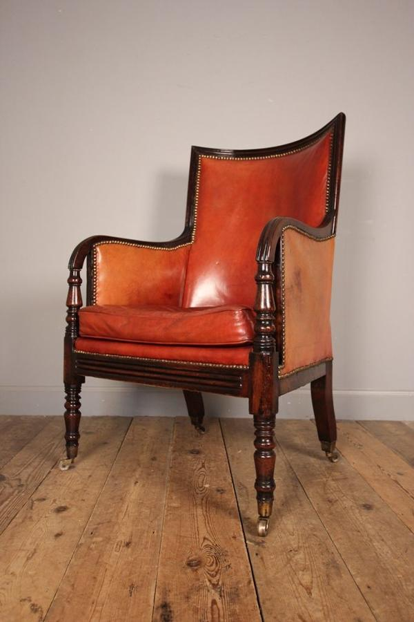 George IV Mahogany Leather Library Chair