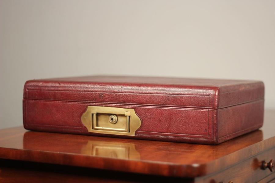 Superb 19th C Moroccan Leather Attache Box