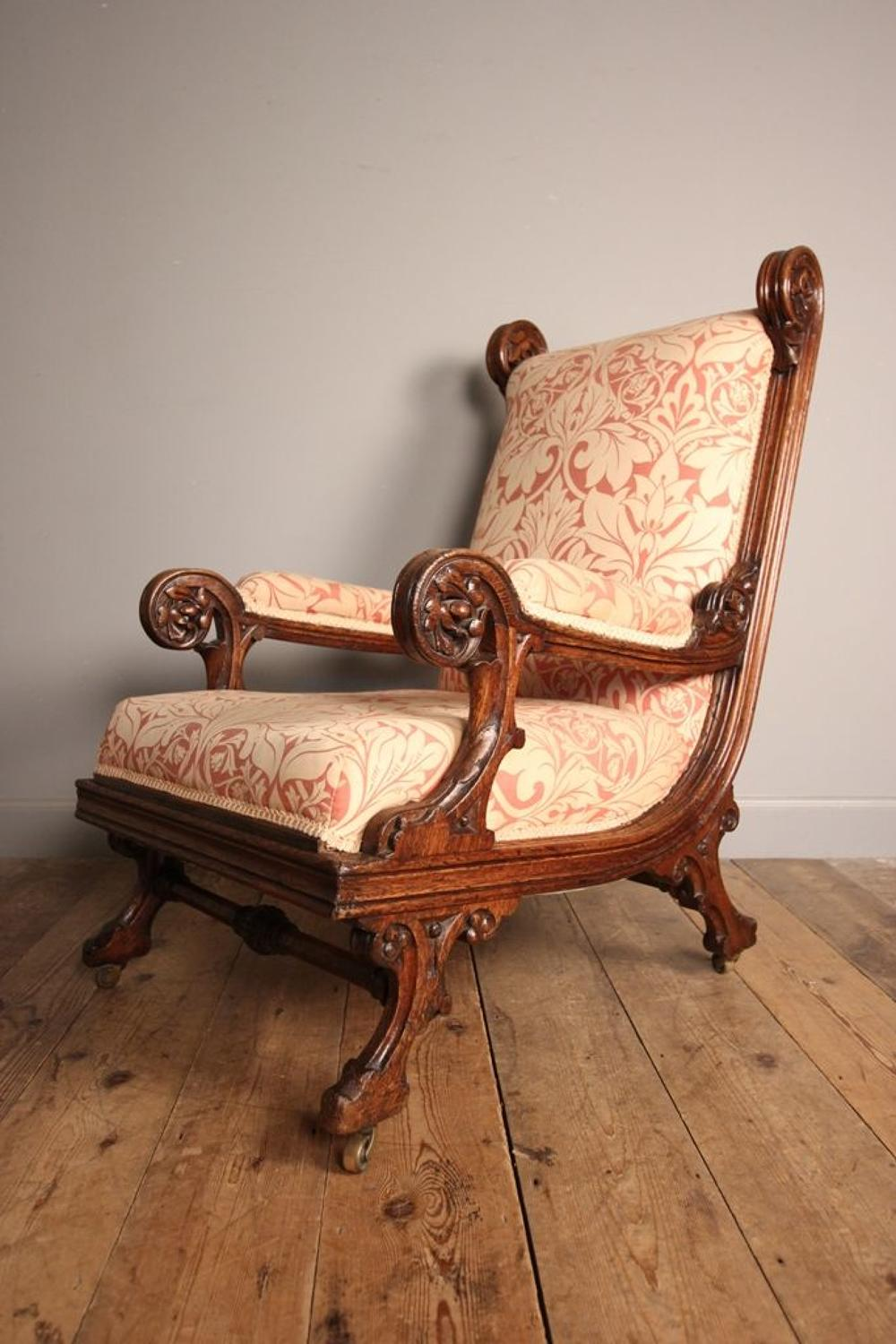 Impressive 19th C Gothic Pugin Oak Armchair