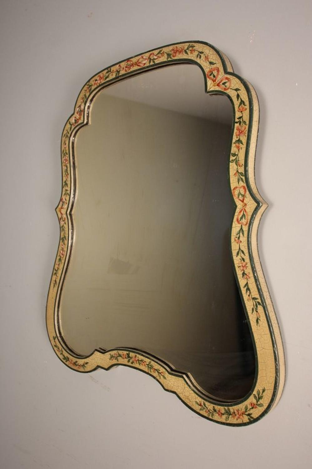 Pretty Edwardian Original Hand Painted Mirror