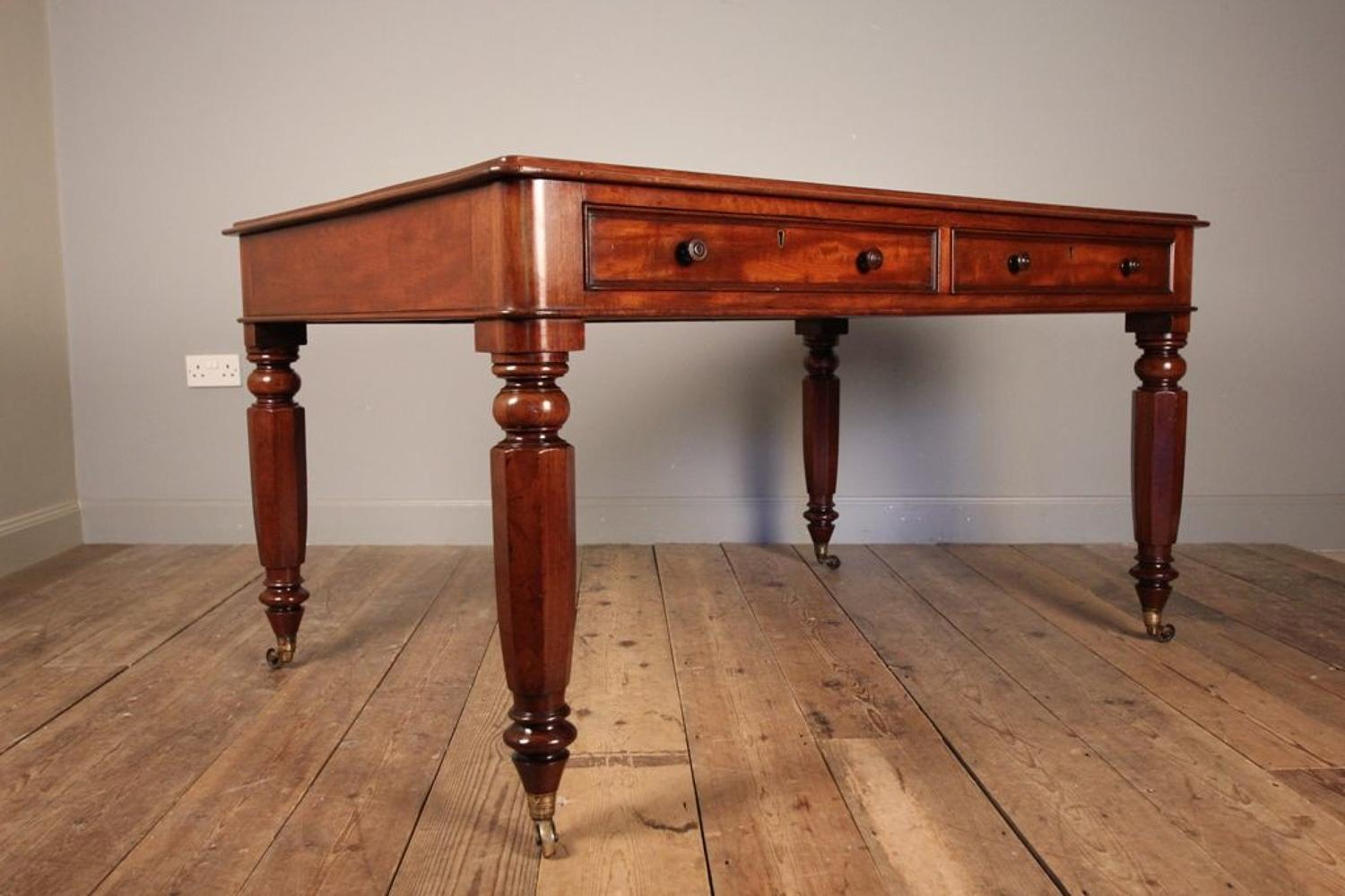 19th C Mahogany Partners Library Desk