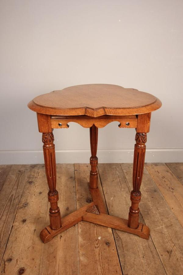 Arts and Crafts Oak Trefoil Table