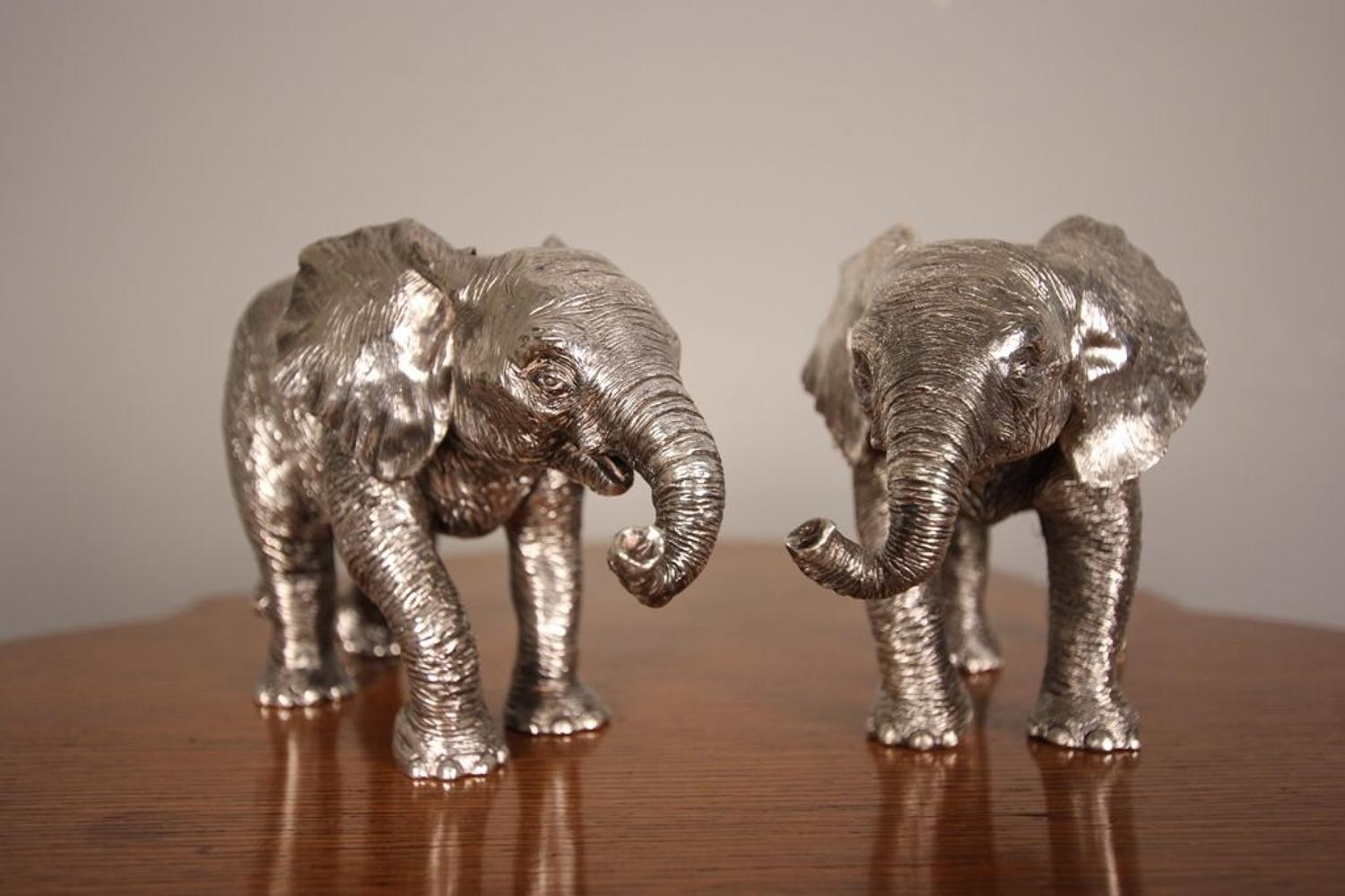 Super Pair of Sterling Silver Elephants