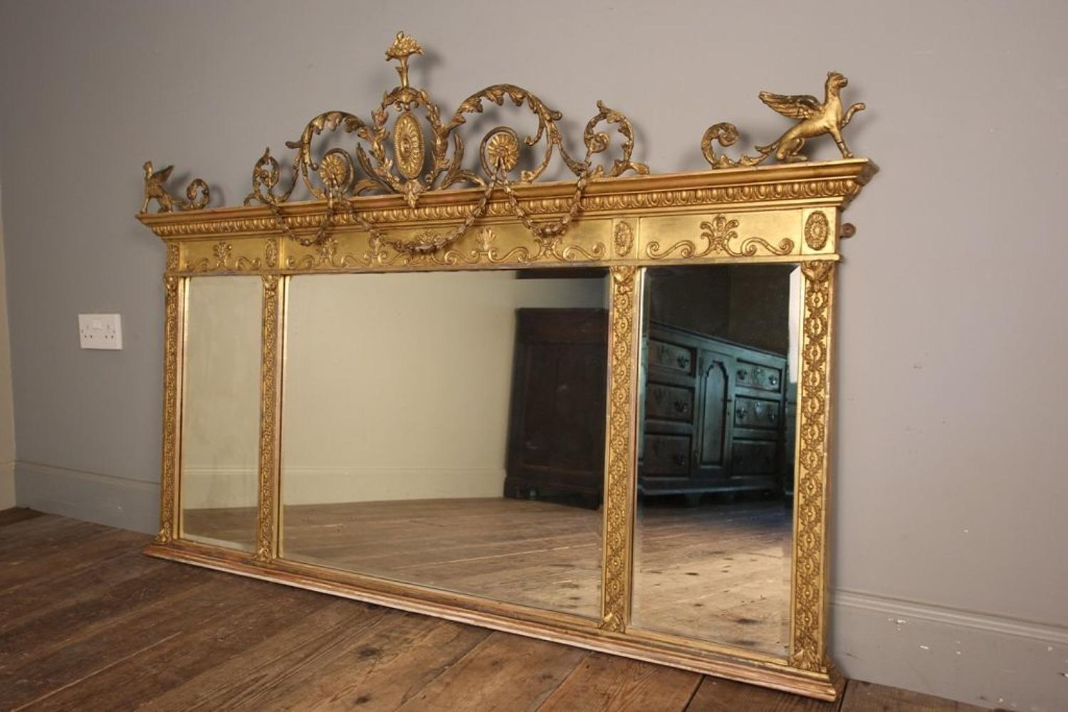 Stunning 19th C Giltwood Triple Plate Mirror