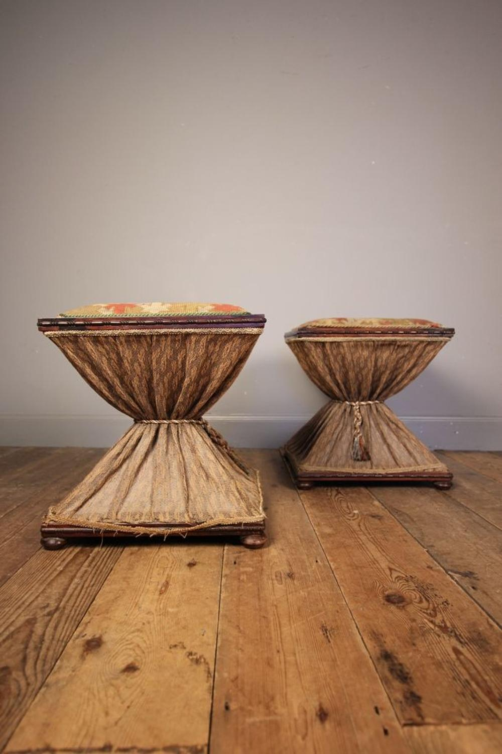 Rare Pair of George IV Rosewood Stools