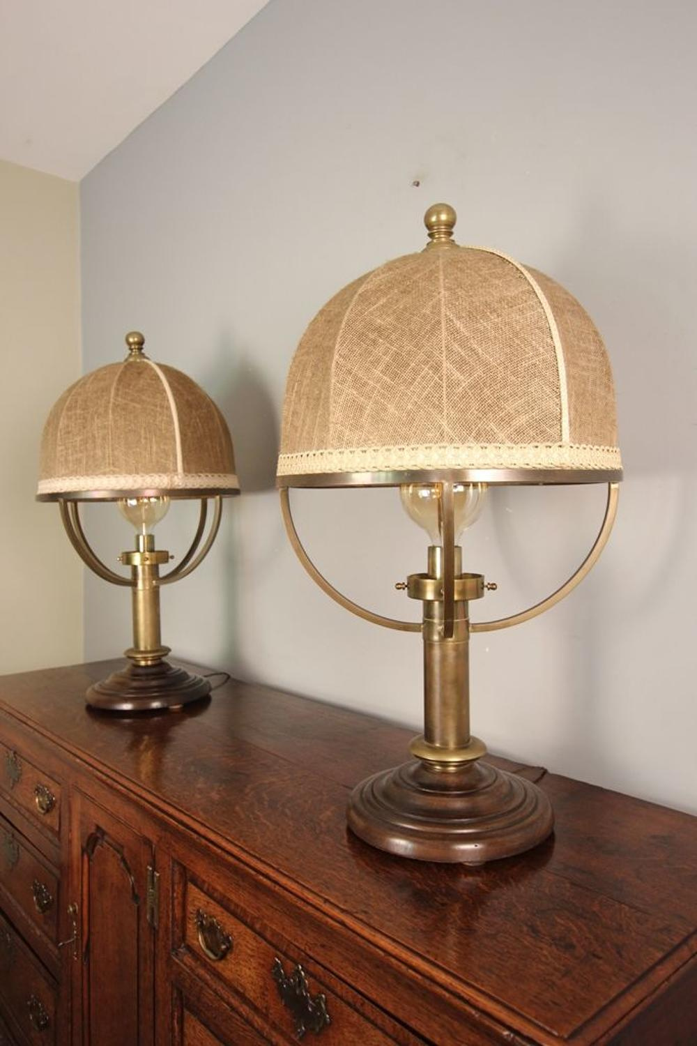 Large Pair of Brass Lamps with original shades