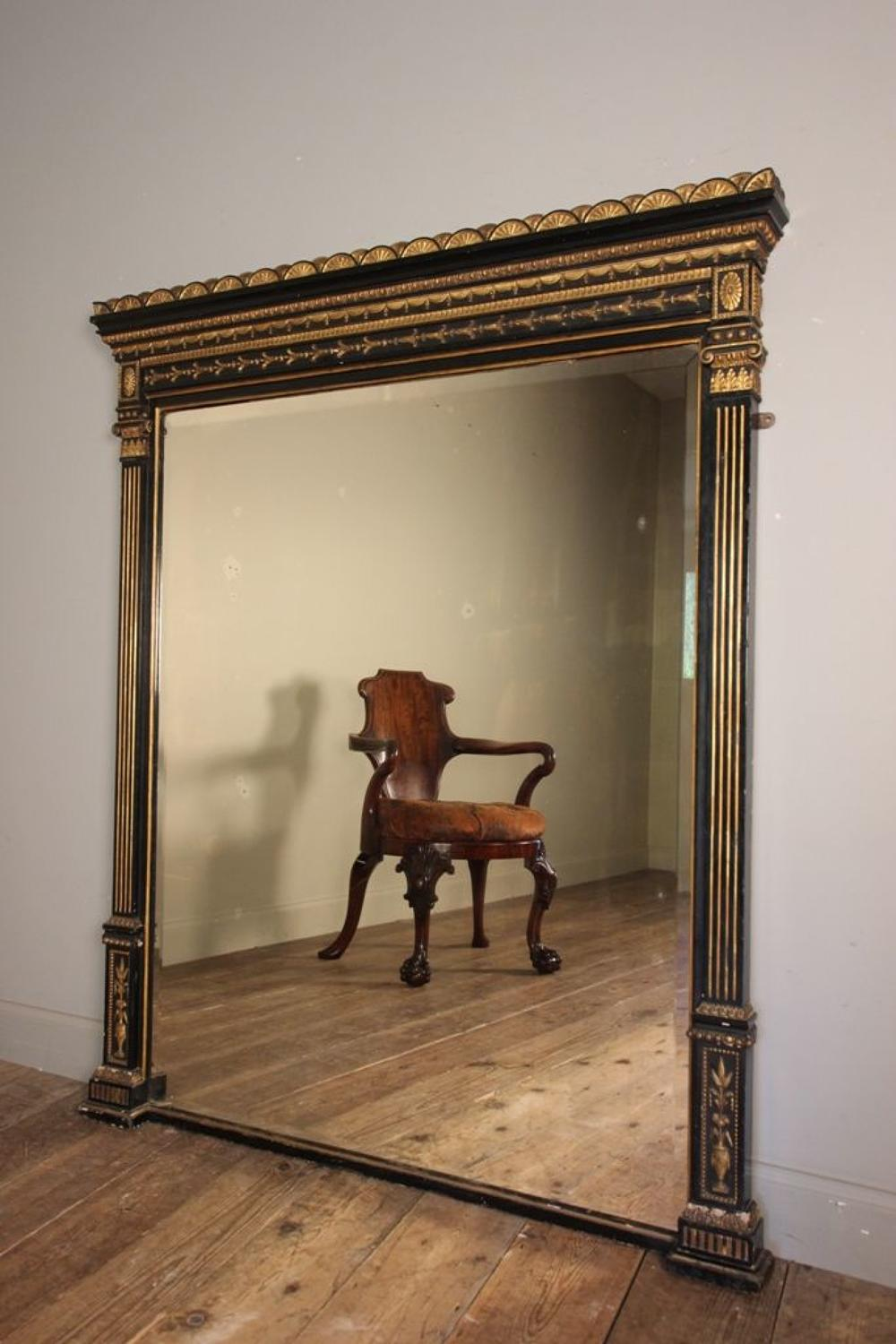 Stunning 19th C Ebonised and Giltwood Wall Mirror