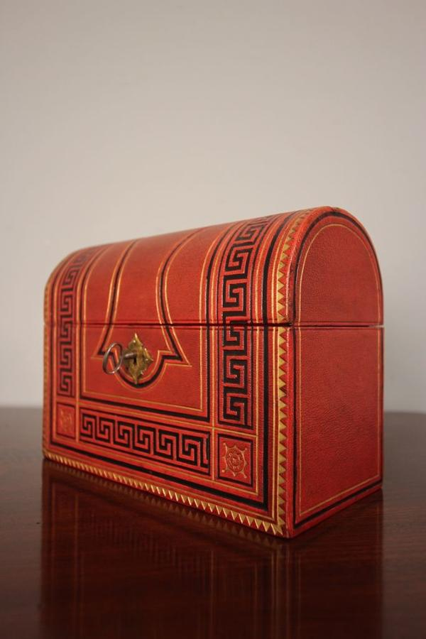 Striking 19th C Embossed Leather Stationary Box