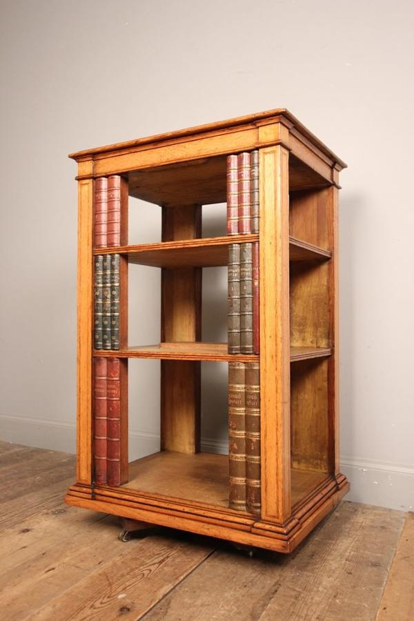 Super Oak Pedestal Open Bookcase atb. Gillows