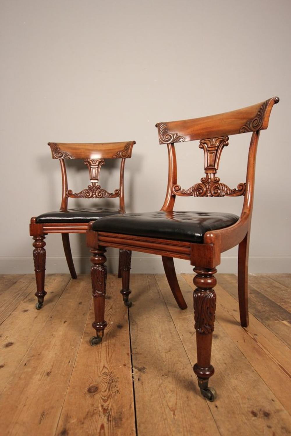 Stunning Pair of George IV Mahogany Side Chairs