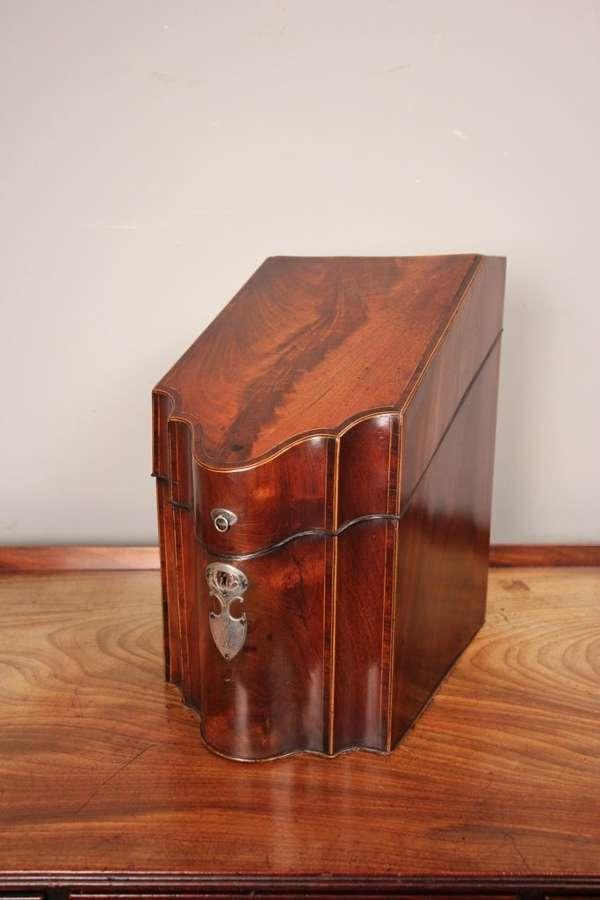 Fine George III Mahogany Inlaid Knife Box