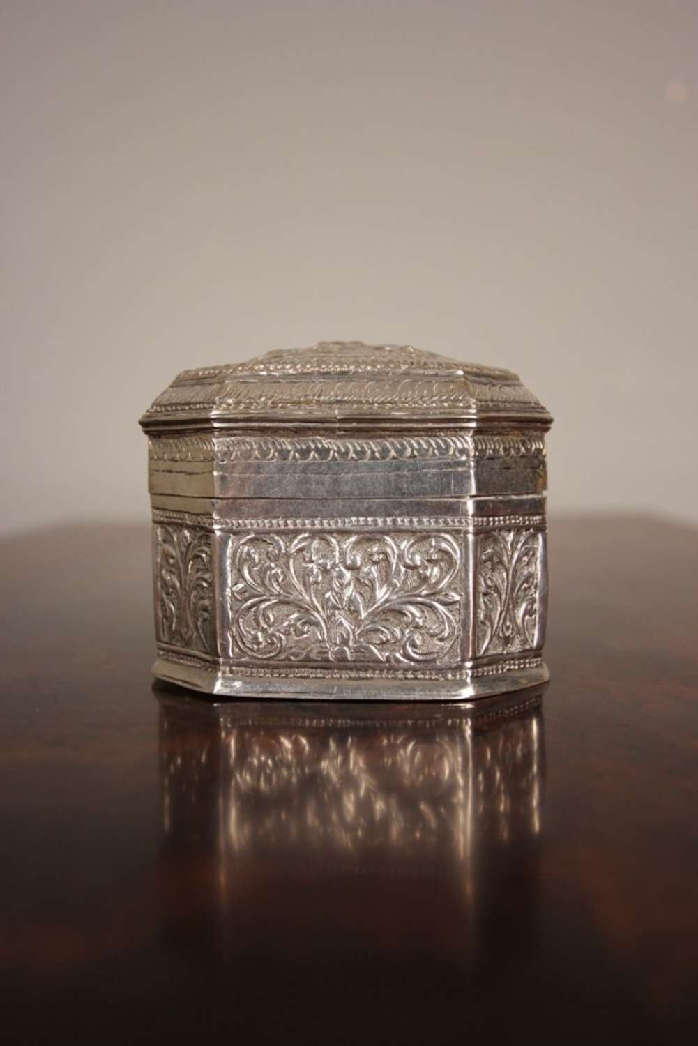 19th C Indian Silver Tea Caddy