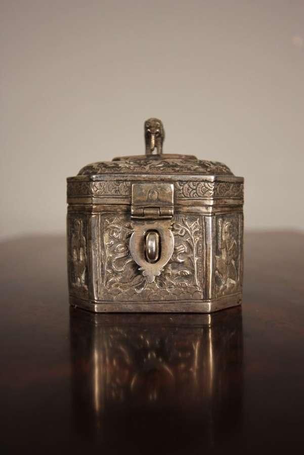19th C Indian Silver Tea Caddy