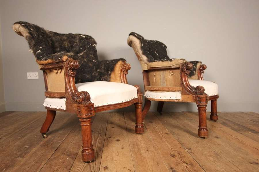 A Superb Pair English Oak Library Armchairs