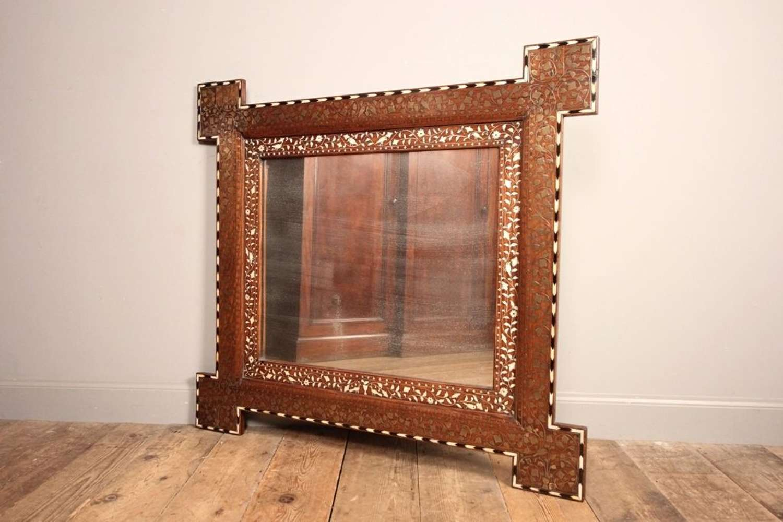 Large Hoshiapur Brass, Bone & Ebony Inlaid Mirror