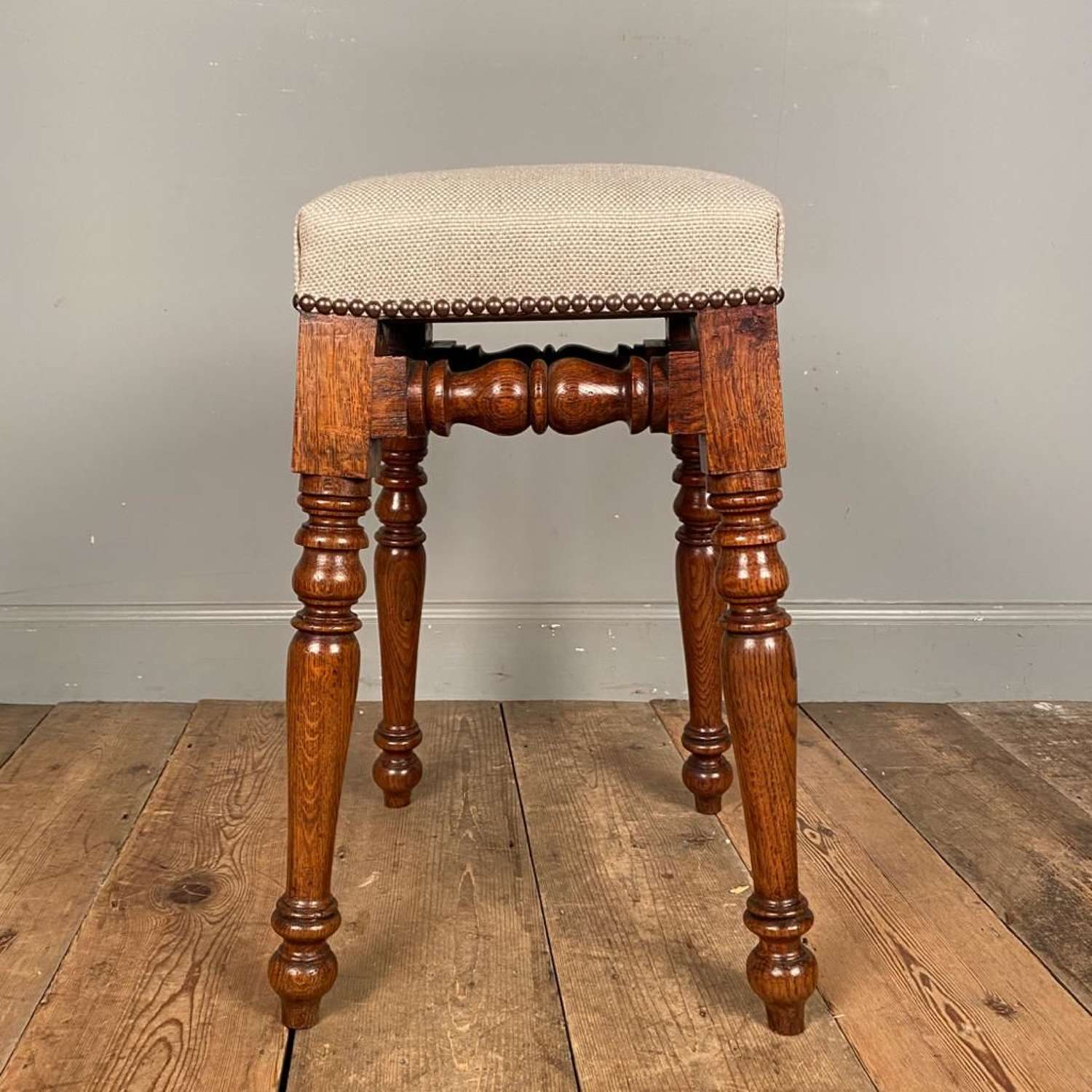 Super quality 19th C Oak Dressing Table Stool