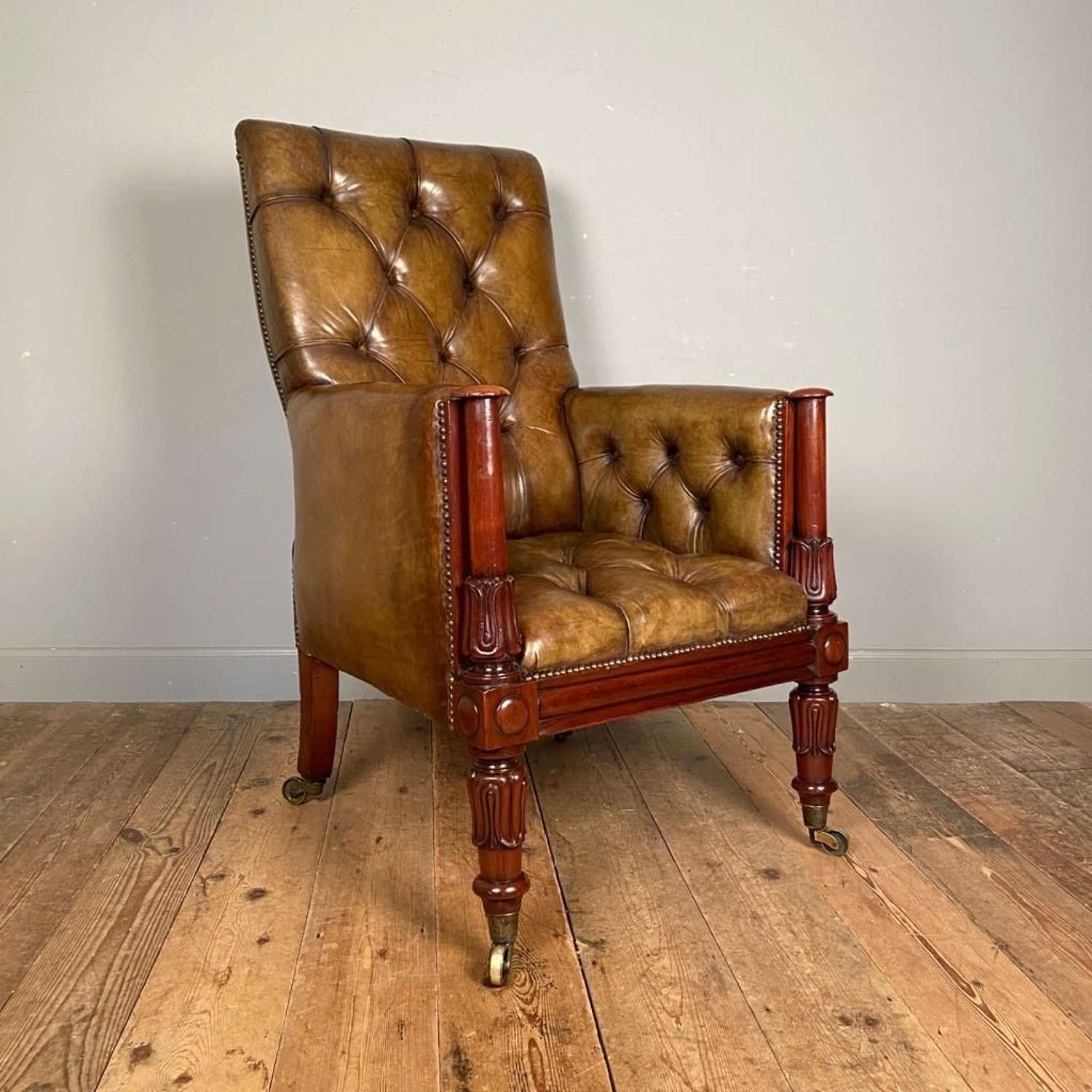 Stunning William IV Leather Library Chair